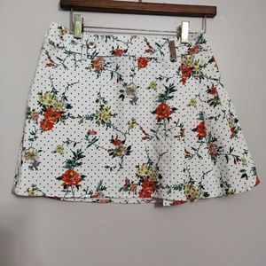 Dolce and Gabbana Floral Pleated Mini Skirt